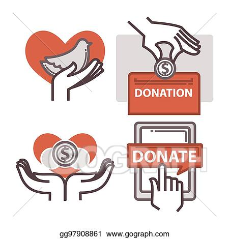 vector stock donation and volunteer work icons clipart