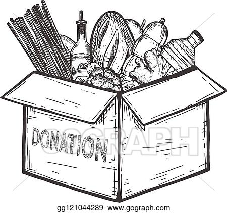 Vector Art Donation Food Box For Needy People Clipart Drawing Gg121044289 Gograph