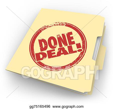Stock Illustration Done Deal Manila Folder Official Contract