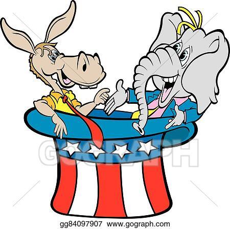 vector clipart donkey elephant in hat vector illustration