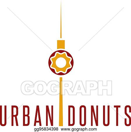 Vector Illustration Donut And Television Tower Vector Design