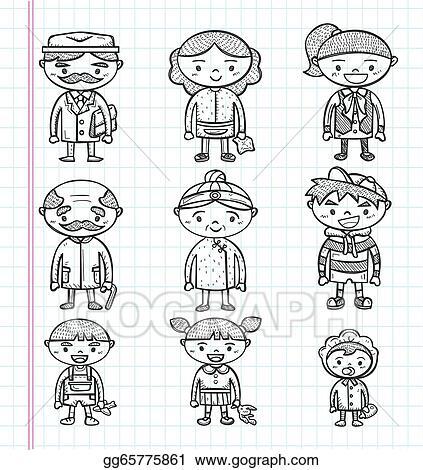 EPS Illustration - Doodle family icons, illustrator line