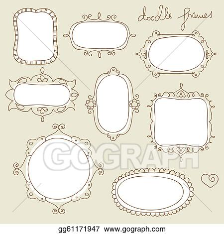 Vector Illustration Doodle Frame Collection Stock Clip Art