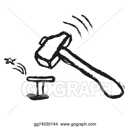 Stock Illustration Doodle Hammer And Metal Nail Clip Art