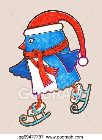 doodle penguin ice skating marker illustration merry christmas happy new year