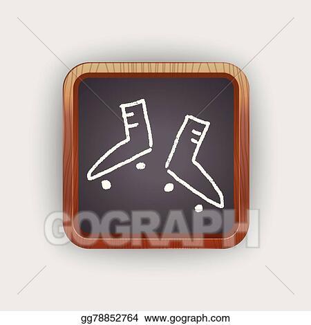 Vector Illustration - Doodle roller skates  EPS Clipart