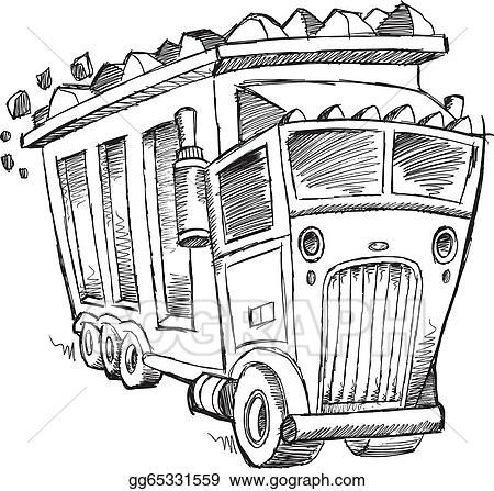 Doodle Sketch Dump Truck Vector