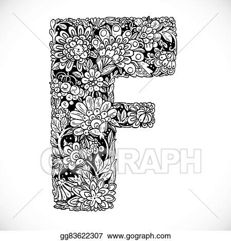 Vector Art Doodles Font From Ornamental Flowers Letter F Black