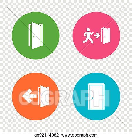 Clip Art Vector Doors Signs Emergency Exit With Arrow Symbol