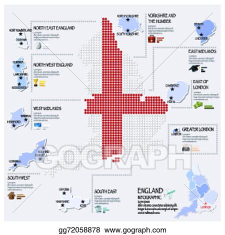 Map Of England Template.Vector Clipart Dot And Flag Map Of England Infographic Design