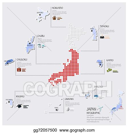Vector Art Dot And Flag Map Of Japan Infographic Design Clipart - Japan map flag