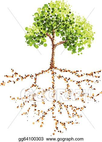 Vector Illustration Dot Painting Tree And Root Stock Clip Art