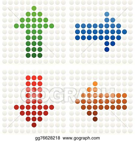 Vector Illustration - Dotted arrows pointing in different