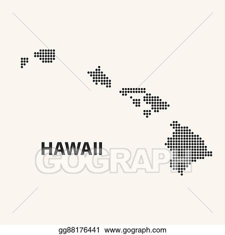 Eps Illustration Dotted Map Of The State Hawaii Vector