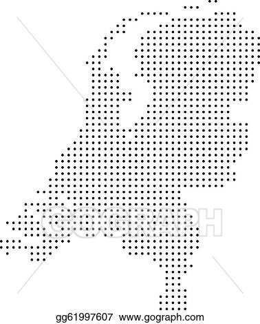 Vector Illustration Dotted netherlands map Stock Clip Art