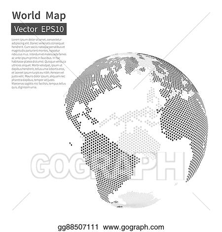 Clip Art Vector - Dotted world map background. earth globe ...