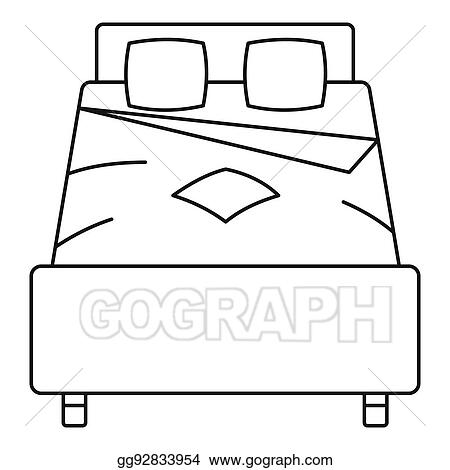 stock illustration double bed icon outline style clip art rh gograph com