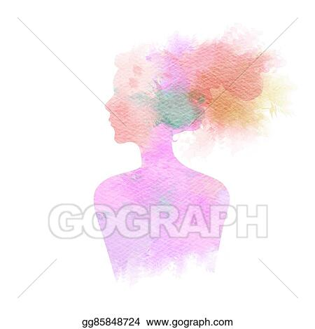 Drawing Double Exposure Illustration Woman Silhouette