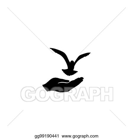 Stock Illustration Dove Bird Free With Hand Pigeon Flying Peace