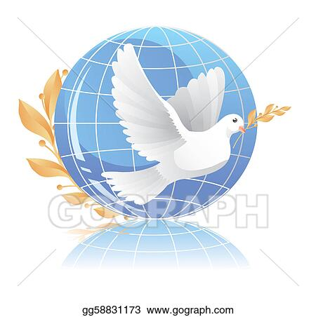 Vector Art Dove Of Peace Near Globe Clipart Drawing Gg58831173