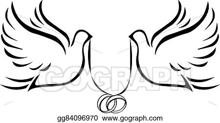 vector stock doves with wedding rings 2 clipart illustration rh gograph com wedding doves clipart free