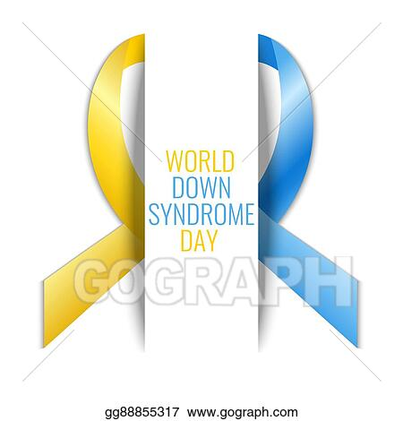 Vector Illustration Down Syndrome Ribbon Poster Eps Clipart