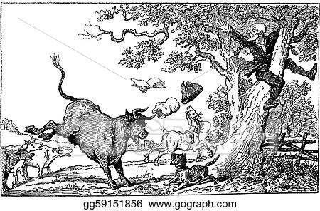 Dr Syntax Chased By A Bull Vintage Engraving