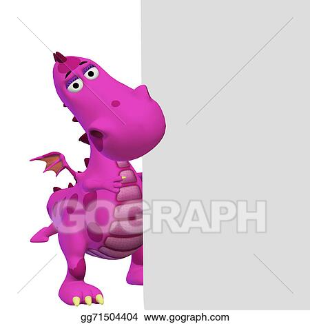 Stock Illustration - Dragon 3d cartoon with a blank frame. Stock Art ...
