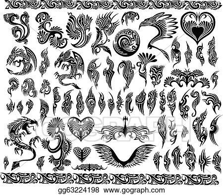 Vector Art - Dragons border frames tattoo set. EPS clipart ...