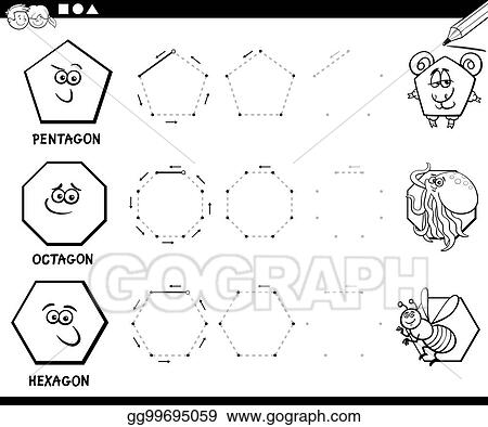 Vector Illustration - Draw geometric shapes coloring page. EPS ...