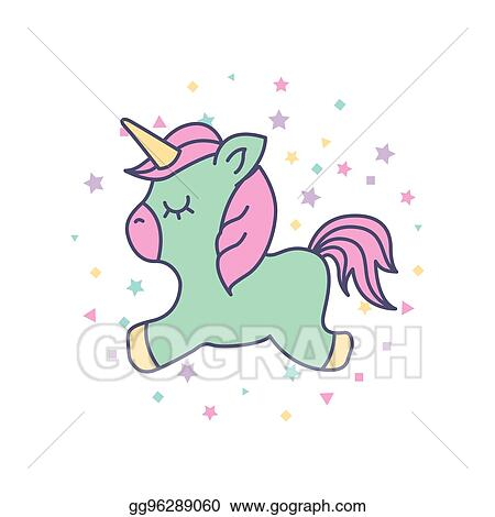 Vector Stock Drawing Cute Unicorn Icon Stock Clip Art