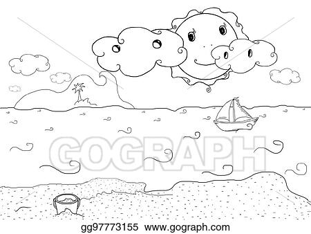 Drawing Plate For Kids With Summer Holiday Beach Landscape