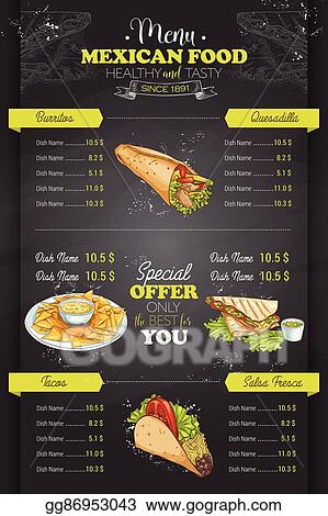 Vector Clipart Drawing Vertical Color Mexican Food Menu Vector