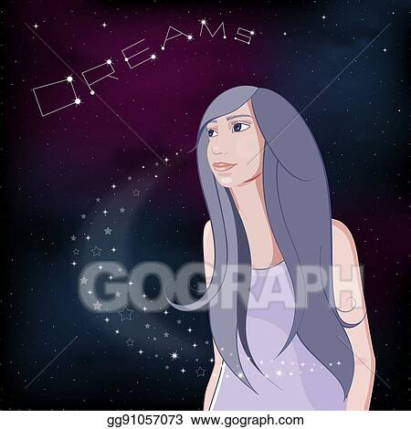 Eps Vector Dreaming Girl On Night Sky Background Vector Illustration Stock Clipart Illustration Gg91057073 Gograph