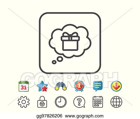 Dreaming Of Gift Line Icon Present Box Sign
