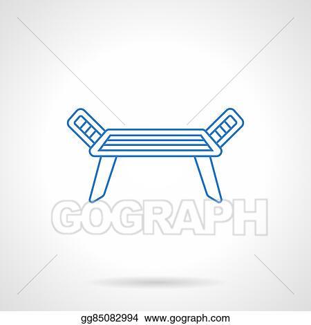 Vector Illustration - Dress dryer blue flat line vector icon