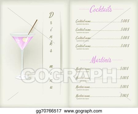 eps illustration drink menu template vector clipart gg70766517