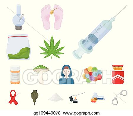 eps illustration drug addiction and attributes cartoon icons in set collection for design addict and drug vector symbol stock web illustration vector clipart gg109440078 gograph drug addiction and attributes cartoon