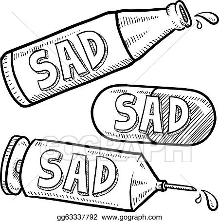 eps vector drug and alcohol depression sketch stock clipart