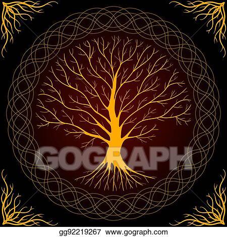 Druidic Yggdrasil Tree Round Dark Gothic Logo Ancient Book Style