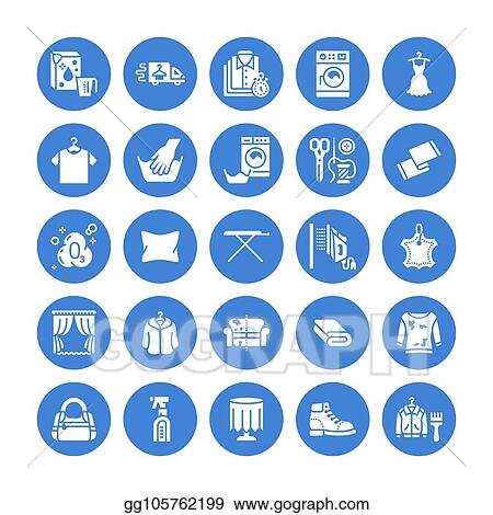 Eps Vector Dry Cleaning Laundry Flat Glyph Icons Launderette