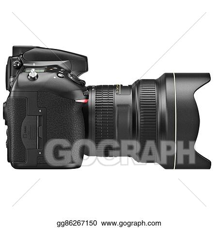 Drawing - Dslr camera, lens zoom, side view  Clipart Drawing