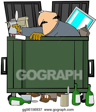 stock illustrations dumpster diver stock clipart gg56156937 gograph rh gograph com garbage dumpster clipart dumpster clip art images free