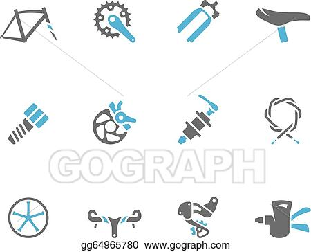 Vector Art Duo Tone Icons Bicycle Parts Eps Clipart Gg64965780
