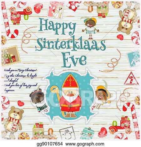 Merry Christmas In Dutch.Vector Illustration Dutch Santa Claus Eps Clipart