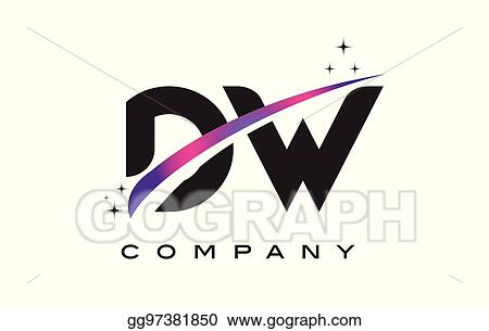 DW D W Black Letter Logo Design With Purple Magenta Swoosh