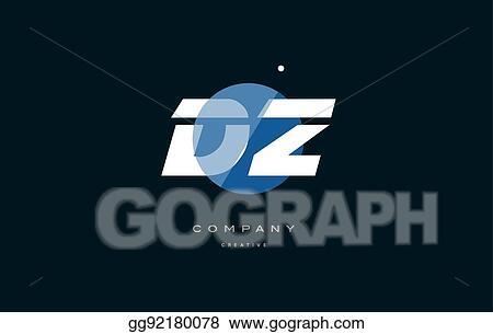 Vector Stock - Dz d z blue white circle big font alphabet