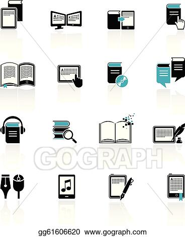 Vector Stock E Book Audiobook And Literature Icons 2 Clipart