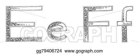 Drawings - E f vanda freehand pencil sketch font  Stock
