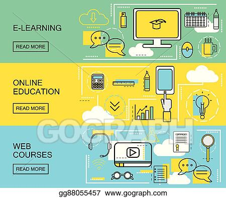Vector Art E Learning Online Education And Web Courses Horizontal Banners Distance Trainings Study Icons With Thin Line Style Vector Illustration Eps Clipart Gg88055457 Gograph